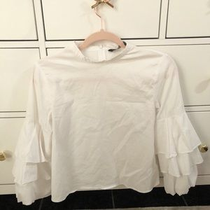 Zara Basic Collection White Bell Ruffle Sleeve Top